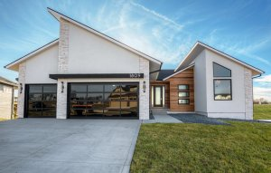 Modern wood and stone home built by Kruse Development.