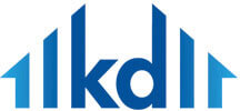"Kruse Development's logo that's blue with some lines and the letters ""k"" and ""d"" forming the shape of a house."